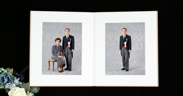 叙勲褒章記念写真 上質なアルバム ご夫婦 ポートレート 叙勲褒章の記念写真保管に最適なアルバム